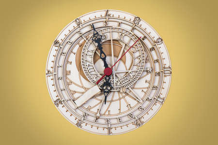 hand on face: antique wooden clock close up Stock Photo