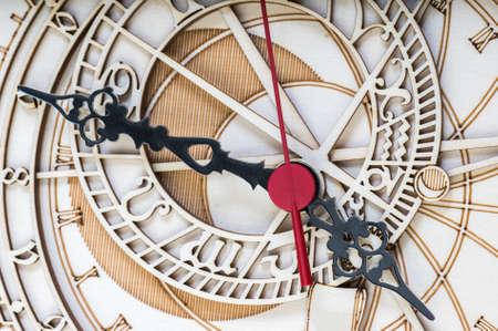 wooden clock: antique wooden clock close up Stock Photo