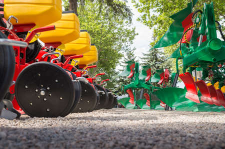 agriculture machinery: Agricultural machinery in agricultural fair Stock Photo