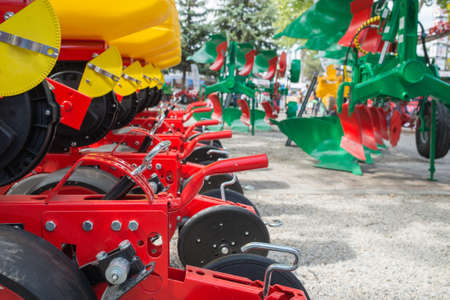 machinery: Agricultural machinery in agricultural fair Stock Photo