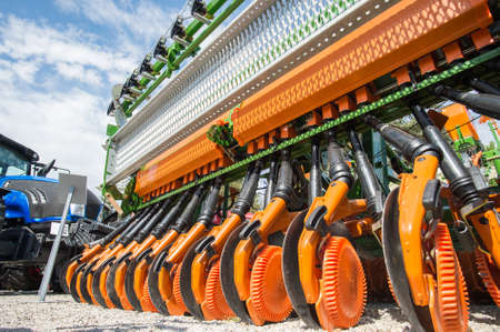 agriculture industrial: Agricultural machinery in agricultural fair Stock Photo