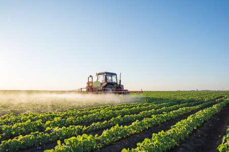 Tractor spuiten soja veld in de lente