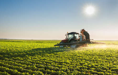 to field: Tractor spraying soybean field Stock Photo