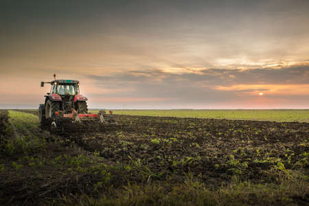 Tractor plowing a field at dusk