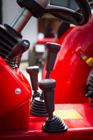 instruction manual: Close up of gearbox stick on tractor Stock Photo