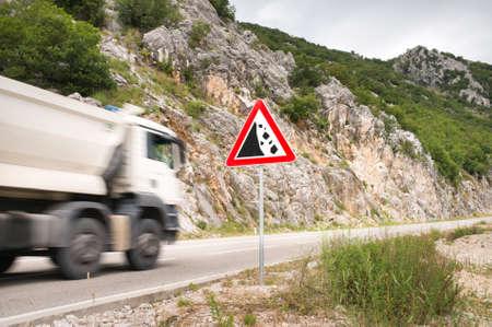 Sign landslide on the road