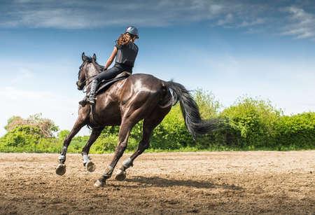 jinete: Joven mujer montando a caballo Foto de archivo