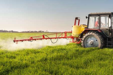 Tractor fumigación de campo de trigo con el rociador Foto de archivo