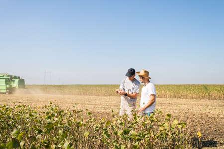 Young farmers in soybean fields Foto de archivo