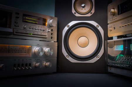hi-fi 受信機とテープデッキ レコーダー 写真素材