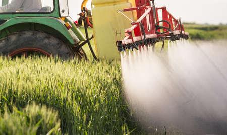 麦畑を噴霧器で散布トラクター 写真素材