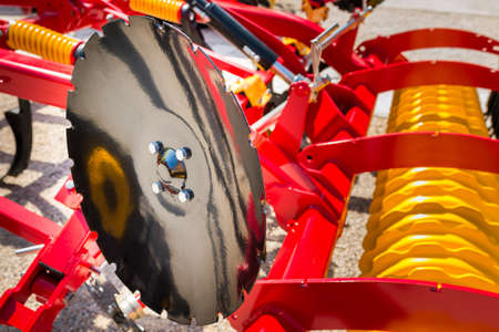 agro: Agricultural machinery in agricultural fair Stock Photo