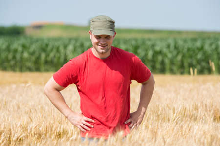 young farmer: Young farmer in a wheat fields