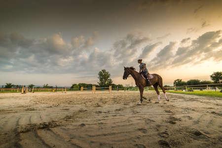 girl on horse: Young girl riding a horse
