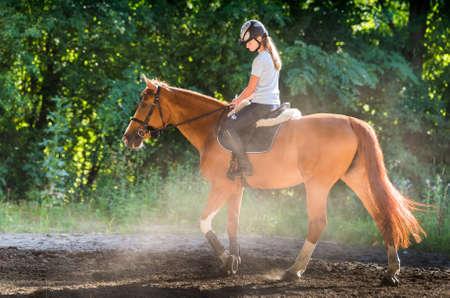 riding: Young girl riding a horse
