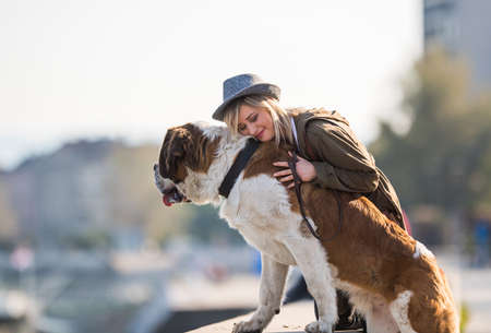 blonde females: Girl and her big dog