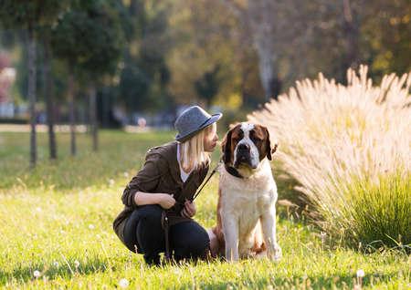 big dog: Girl and her big dog