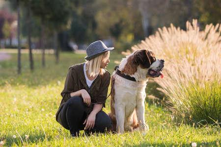 Girl and her big dog