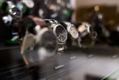 Watches in a luxury store Archivio Fotografico