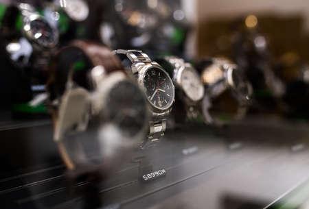 Watches in a luxury store Foto de archivo