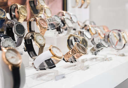 Wrist Watches in a luxury store Stock Photo