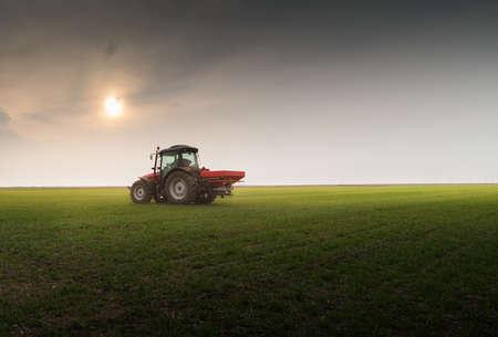 Tractor spreading artificial fertilizers  in field Stock Photo