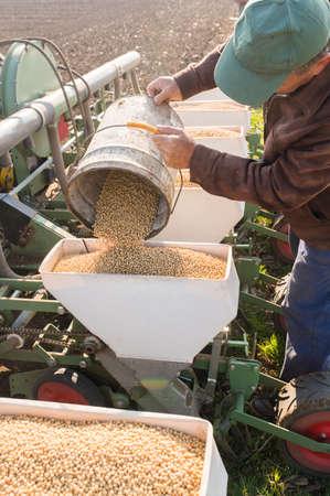兼業農家は、春の農業分野に播種作物に注いで大豆種子
