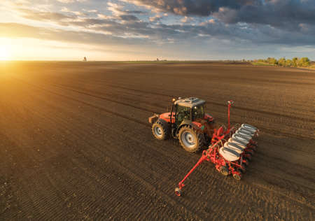the arable land: Farmer with tractor seeding - sowing crops at agricultural fields in spring