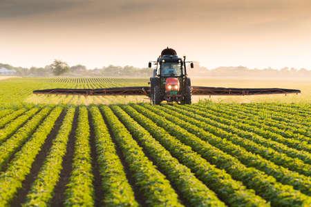 sorgo: Tractor pulverización de plaguicidas en el campo de soja con el rociador en el resorte