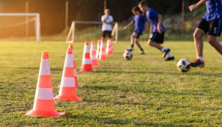 Kids Playing Football Soccer Game on Sports Field Foto de archivo - 129241649