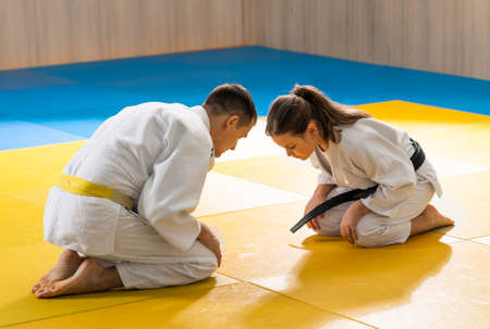greetings after the judo training Stok Fotoğraf