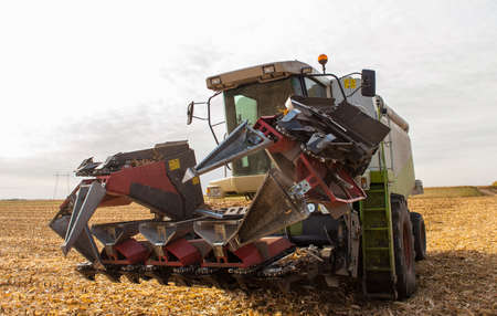 combine after harvesting corn in the fall