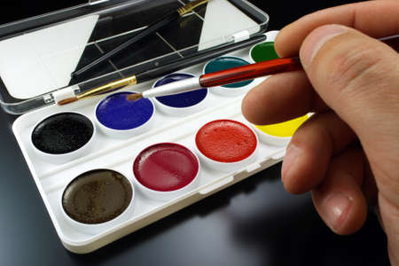 paints: Water color paints for drawing Stock Photo