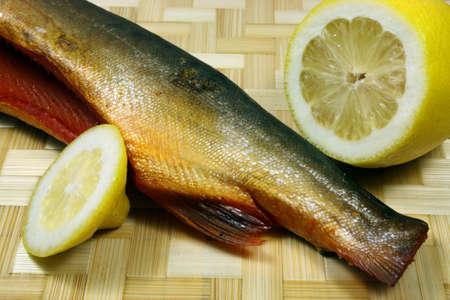 redfish: Balyk of a humpback salmon with a lemon