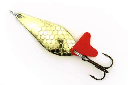 color image fish hook: Fishing tools on a white background