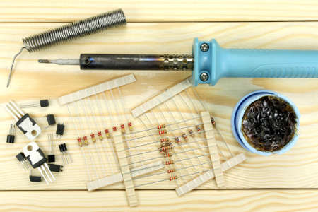 soldering: Soldering of electronic components Stock Photo