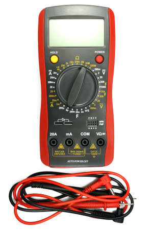 ammeter: Digital multimeter with probe isolated on the white background