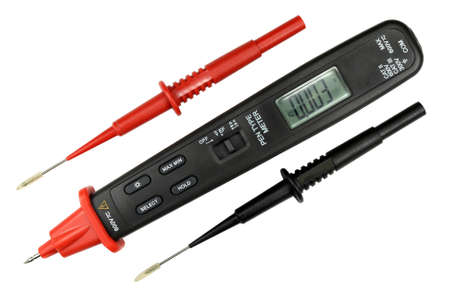 impedance: Digital multimeter with probe isolated on the white background