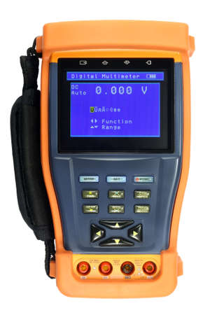 impedance: Digital multimeter in a protective cover isolated on the white background