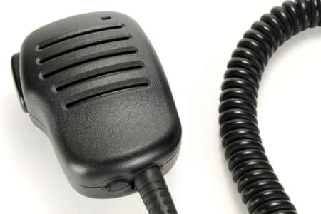 cb: Handheld microphone for walkie-talkie isolated on a white background