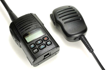cb: Portable walkie-talkie with handheld microphone isolated on a white background Stock Photo