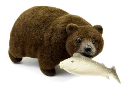 alaskan bear: Big brown bear with fish in a mouth isolated on a white background Stock Photo
