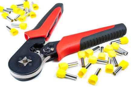 Cord end terminal crimper on a white background Stock Photo