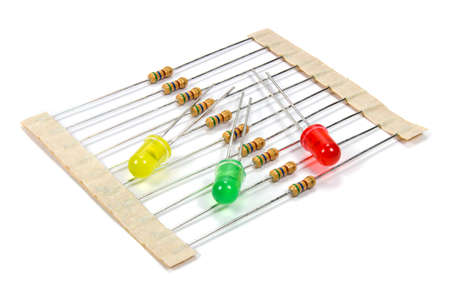 resistors: A set of resistors and colored LED diodes on a white background