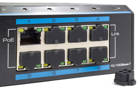 Power over Ethernet switch on a white background Standard-Bild