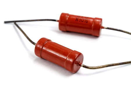 Set of vintage high power resistors on a white background