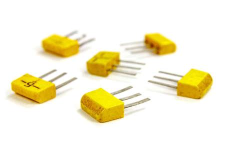 Set of bipolar transistors on a white background closeup