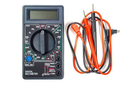 probes: Digital multimeter with red and black probes isolated on white background