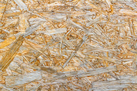 Surface of the OSB plate closeup. Natural wood texture. Abstract background