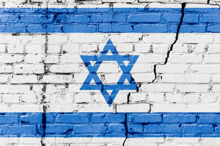 Israeli flag painted on a brick wall. Flag of Israel. Textured abstract background